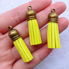Suede Tassel Charms with Antique Bronze Cap | Faux Leather Fringe Tassel Pendant | Small Jewelry Tassels | Tassel Keychain DIY (3pcs / Yellow / 10mm x 38mm)