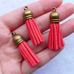 Faux Suede Fringe Tassels with Antique Bronze Cap | Small Leather Tassel Charms | Jewellery Tassels | Tassel Bracelet Making (3pcs / Coral Pink / 10mm x 38mm)