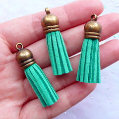 Faux Leather Tassels with Antique Bronze Cap | Small Fringe Tassel Charms | Tassel Jewelry Making | Suede Tassel Necklace DIY (3pcs / Teal Turquoise Blue Green / 10mm x 38mm)
