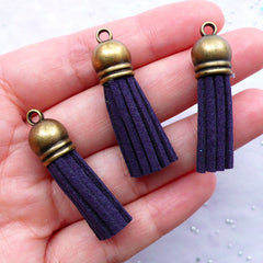 Small Fringe Tassels with Antique Bronze Cap | Faux Suede Tassel Pendant | Leather Tassel Charms | Fringe Necklace Making | Jewellery Findings (3pcs / Navy Blue / 10mm x 38mm)