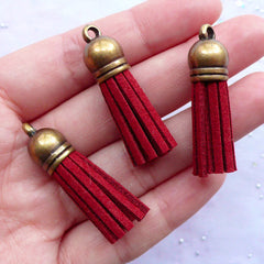 Suede Leather Tassels with Antique Bronze Cap | Fringe Tassels Jewelry Making | Colored Tassel Charms | Fringe Bracelet DIY (3pcs / Wine Red / 10mm x 38mm)