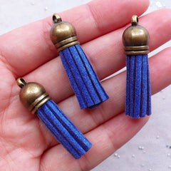 Small Leather Tassels with Antique Bronze Cap | Synthetic Suede Fringe Tassels | Colored Tassel Pendant | Fringe Keychain Making (3pcs / Blue / 10mm x 38mm)