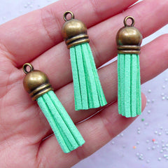 Small Tassels with Antique Bronze Cap | Synthetic Leather Fringe Tassels | Colored Suede Tassels | Fringe Jewellery Making (3pcs / Mint Blue Green / 10mm x 38mm)