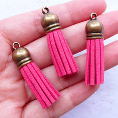 Fringe Tassels with Antique Bronze Cap | Synthetic Leather Tassels | Colored Suede Fringe | Tassel Jewelry DIY (3pcs / Dark Pink / 10mm x 38mm)