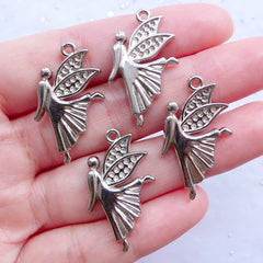 Silver Angel Charms | Guardian Angel Pendant | Baptism Jewelry DIY | First Communion Gift Making | Confirmation Gift Ideas (4pcs / Silver / 16mm x 29mm)