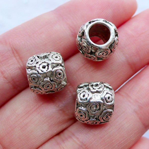 Silver Flower Beads | Barrel Bead with Floral Pattern | Large Hole Slider Bead | European Charm Bracelet Making (3pcs / Tibetan Silver / 10mm x 9mm)