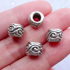 CLEARANCE Silver Barrel Beads with Scroll Pattern | Large Hole Spacer Bead with Spiral Pattern | Slider Bead Supplies | European Charm Necklace DIY (4pcs / Tibetan Silver / 9mm x 6mm)
