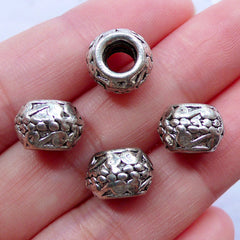 CLEARANCE Barrel Beads in Scrolling Pattern | Silver European Bead Supplies | Big Hole Slider Bead | Charm Bracelet & Dreadlock Jewelry Making (4pcs / Tibetan Silver / 10mm x 7mm)