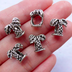 Palm Tree Beads | Silver Bead Supplies | Big Hole European Focal Bead | Charm Bracelet & Hawaii Jewelry DIY | Tropical Vacation (5pcs / Tibetan Silver / 2 Sided)