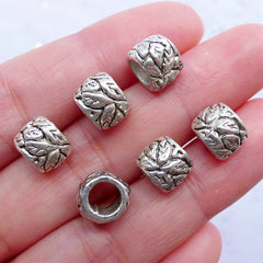 CLEARANCE Silver Leaf Beads | Barrel Bead in Leaves Pattern | Large Hole Bead Supplies | Floral European Bracelet (6pcs / Tibetan Silver / 9mm x 7mm)