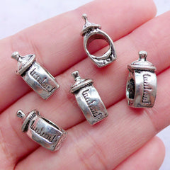 3D Milk Bottle Beads | Silver Baby Bottle Bead | European Bead Supplies | Big Hole Focal Bead | Newborn Gift Making | Baby Shower Decor (5pcs / Tibetan Silver / 7mm x 15mm / 2 Sided)