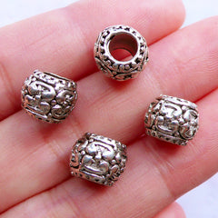 Large Hole Bead Supplies | Silver Barrel Beads | Dread Beads | Dreadlock Jeweley | Slider Bead | European Beads | Charm Bracelet & Necklace Making (4pcs / Tibetan Silver / 10mm x 7mm)