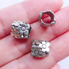 Daisy Flower Beads | Silver Barrel Tube Beads | Floral Dreadlock Beads | Big Hole Slider Bead | European Beads | Charm Bracelet & Necklace DIY (3pcs / Tibetan Silver / 10mm x 10mm)