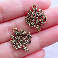 Eternal Banyan Tree Charms | Tree of Life Pendant | Sacred Jewellery | Nature Philosophy Zen Yoga Charm (8pcs / Antique Gold / 16mm x 20mm)