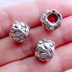 Leaf Barrel Beads | Silver Floral Bead with Leaves Pattern | Large Hole European Bead | Nature Charm Bracelet DIY (3pcs / Tibetan Silver / 11mm x 9mm)