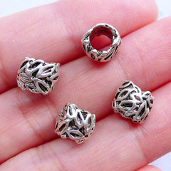Leaves Beads | Silver Barrel Bead with Leaf Pattern | Big Hole European Bead | Floral Charm Bracelet Making | Nature Jewelry (4pcs / Tibetan Silver / 8mm x 7mm)