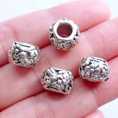 Silver Floral Beads | Barrel Bead with Flower Pattern | Large Hole Beads | European Charm Bracelet | Nature Jewellery (4pcs / Tibetan Silver / 11mm x 8mm)