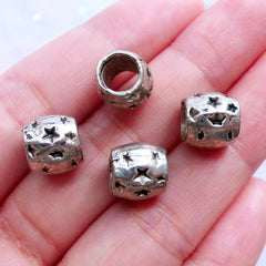 Star Barrel Beads | Silver Dreadlock Beads with Star Pattern | Large Hole Slider Beads | Dread Jewellery | European Charm Bracelet Making (4pcs / Tibetan Silver / 10mm x 9mm)