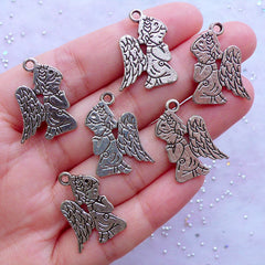 Guardian Angel Charms | Silver Praying Angel Drawing Pendant | Baptism Favor Decoration | First Communion Jewelry DIY | Confirmation Gift (6pcs / Tibetan Silver / 17mm x 23mm / 2 Sided)