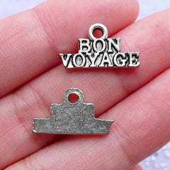 Bon Voyage Charms | Have a Nice Trip Pendant | Good & Safe Journey Gift | Travel Jewellery | Sailing Jewellery (8pcs / Tibetan Silver / 17mm x 10mm)