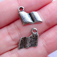 Silver Open Book Charms | Reading Charm | Novel Pendant | Library School Study Jewelry | Bookmark Jewellery Making | Literature Lover | Gift for Writer (7pcs / Tibetan Silver / 11mm x 14mm)