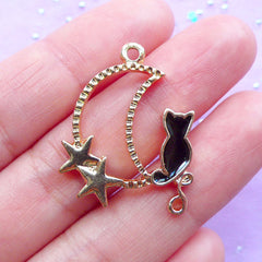 Crescent Moon & Kitten Open Bezel | Magical Girl Jewelry Supplies | Kawaii Moon Charm | Deco Frame for UV Resin Art (1 piece / Gold & Black / 22mm x 29mm)