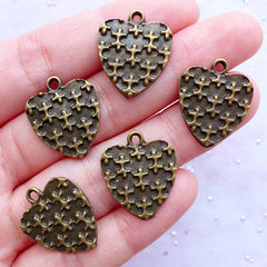 Bronze Heart Charms with Puzzle Pattern | Heart Pendant with Cross Pattern | Love Decor | Wedding Supplies | Valentine's Day Decoration (5pcs / Antique Bronze / 17mm x 20mm)