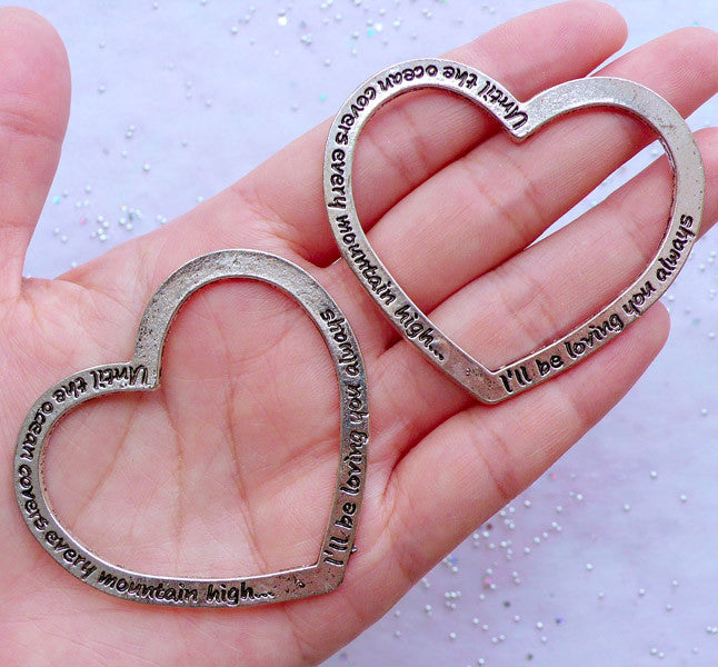 10 x Tibetan Silver Tone You Are Always in My Heart Charms Pendants 2 Sided