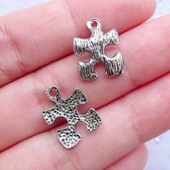 CLEARANCE Silver Puzzle Charms | Autism Puzzle Pendant | Jigsaw Puzzle Jewellery | Autism Awareness Jewelry (12pcs / Tibetan Silver / 11mm x 15mm)