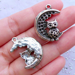 Moon and Owl Charms | Silver Bird Pendant | Night Charm | Kawaii Goth Jewellery Making | Gothic Lolita Necklace DIY (2pcs / Tibetan Silver / 20mm x 27mm)