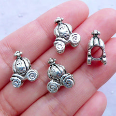 Pumpkin Carriage Beads | Silver Vintage Carriage Bead | Cinderella Charm Bracelet DIY | Large Hole Focal Beads | European Bead Supplies (4pcs / Tibetan Silver / 11mm x 15mm / 2 Sided)