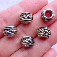 Barrel Beads with Twisted Rope Pattern | European Charm Bracelet Making | Large Hole Spacer Beads | Jewellery Supplies (5pcs / Tibetan Silver / 10mm x 7mm)