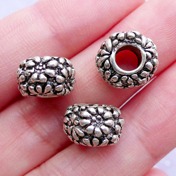 Silver Floral Beads | Rondelle Bead with Flower Pattern | Big Hole Focal Beads | Nature Charm Bracelet Making | European Bead Supply (3pcs / Tibetan Silver / 11mm x 7mm)