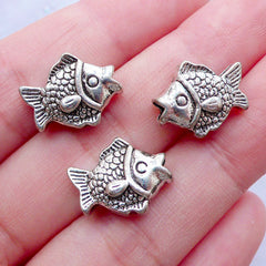 Silver Fish Beads | Animal Focal Beads | Marine Life Charm Bracelet | Beach Jewellery Making (3pcs / Tibetan Silver / 12mm x 14mm / 2 Sided)