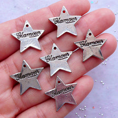 Glamour Star Tag Charms | Silver Star Pendant | Glam Rock Jewellery Making | Wine Glass Charm | Party Decoration (6pcs / Tibetan Silver / 19mm x 18mm / 2 Sided)