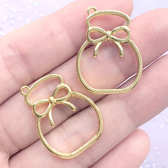 Gift Bag Open Bezel for UV Resin Filling | Drawstring Deco Frame | Kawaii Resin Jewellery Making (2 pcs / Gold / 20mm x 27mm)