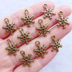Gold Snow Flake Charms | Snowflake Pendant | Christmas Party Decoration | Wine Glass Charm | Winter Embellishments (10pcs / Antique Gold / 12mm x 17mm)