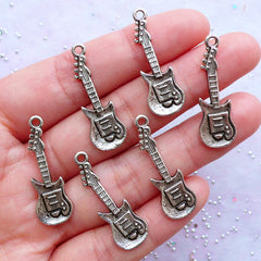 Electric Bass Guitar Charms | Rock Music Pendant | Musical Instrument Charm | Gift for Rock and Roll Music Lover | Musician Jewellery (7pcs / Tibetan Silver / 10mm x 30mm)