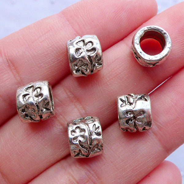 Floral Barrel Beads | Flower Bead Supplies | Large Hole Silver Beads | European Charm Bracelet | Nature Jewellery DIY (5pcs / Tibetan Silver / 8mm x 7mm)