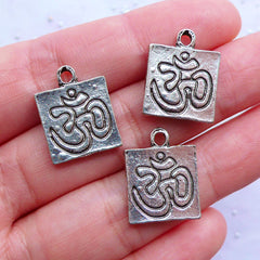 DEFECT Silver OM Charms | AUM Pendant | Sacred Charm | Mantra Charm | Sqaure Tag Charm | Hinduism Jewelry | Meditation Yoga Jewellery (3pcs / Tibetan Silver / 14mm x 18mm / 2 Sided)