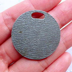 Gunmetal Round Pendant with Modern Circle Pattern | Circle Charm | Necklace Making | Handbag Charm DIY | Jewellery Findings Supplies (1 Piece / 31mm)