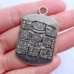 Mayan Totem Tag Charms | Maya Glyph Tag Pendant | Tailsman Jewellery | Aztec Inca Charm | Mystical Ancient Carving Pattern (1 Piece / Tibetan Silver / 28mm x 43mm)