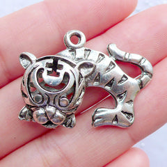 Asian Tiger Charms | Silver Tiger Pendant | Large Animal Charm | Zodiac Charm | Oriental Jewellery | Necklace Making (1 piece / Tibetan Silver / 32mm x 24mm / 2 Sided)