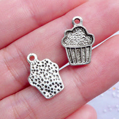 Silver Cupcake Charms | Miniature Sweets Pendant | Food Charm | Kawaii Jewellery | Cute Planner Charm | Bakery Product Tag Charm (10 pcs / Tibetan Silver / 11mm x 15mm)