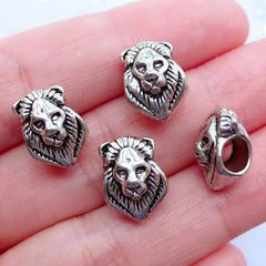 King Lion Beads | Silver Animal Bead | Big Hole Beads | European Focal Beads | Charm Bracelet Making (4pcs / Tibetan Silver / 9mm x 13mm)