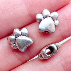Silver Dog Paw Beads | Animal Focal Beads | Pet Jewellery | Footprint Bead | Gift for Dog Lover | Animal Charm Bracelet Making (3pcs / Tibetan Silver / 11mm x 10mm / 2 Sided)