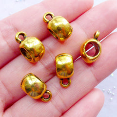 Gold Bail Beads | Barrel Beads with Charm Holder | Big Hole Spacer Bead with Charm Hanger | Dread Jewelry | Bracelet & Necklace Making (5pcs / Antique Gold / 7mm x 14mm)