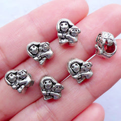 Mom Daughter Beads | Family Beads | Large Hole Focal Beads | European Charm Bracelet | Mother's Day Jewellery Making (6pcs / Tibetan Silver / 8mm x 10mm)