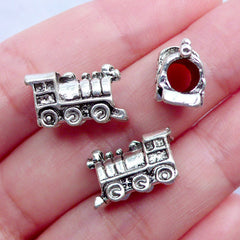 Steam Locomotive Train Beads | 3D Vehicle Beads | Silver Large Hole Beads | European Focal Bead | Rail Transport Jewelry (3pcs / Tibetan Silver / 15mm x 10mm / 2 Sided)