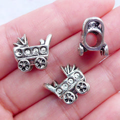 3D Baby Stroller Beads | Silver Baby Carriage Beads | Baby Pram Bead | Big Hole Focal Beads | European Charm Bracelet | Gift for New Mom (3pcs / Tibetan Silver / 14mm x 13mm / 2 Sided)
